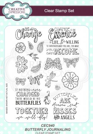 Clear Stamp Set - Butterfly Journaling A5 Clear Stamp Set